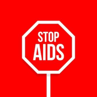 Przystanek pomaga czerwony ośmiokątny znak drogowy projekt wektor godło hiv świadomość opieki i pomocy firmie charytatywnej