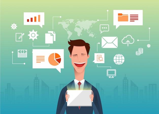 Przystojny biznesmen trzyma w ręku tablet pc z symbolami internetowymi i mapą świata.