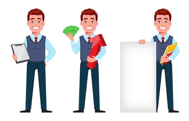 Przystojny biznesmen trzymający schowek trzymający pieniądze i stojący w pobliżu banera
