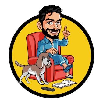 Przystojny brodaty facet i jego piękny pies siedzi na kanapie