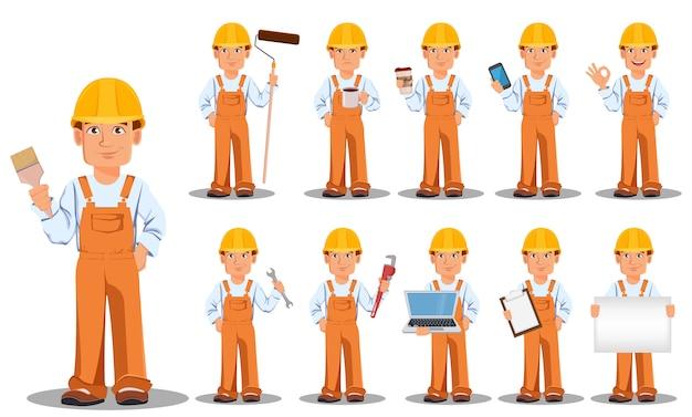 Przystojny budowniczy w mundurze