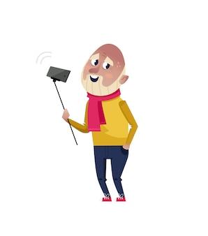 Przystojny dojrzały mężczyzna robi selfie charakter.