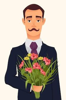 Przystojny dżentelmen trzyma bukiet kwiaty