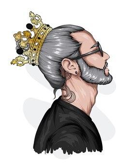 Przystojny facet w okularach i koronie