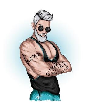 Przystojny facet w sportowej koszuli i okularach
