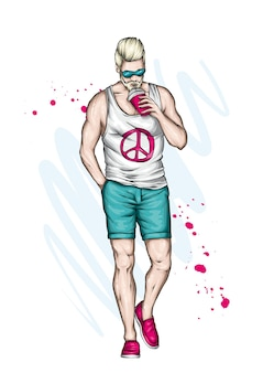 Przystojny facet w stylowe letnie ubrania