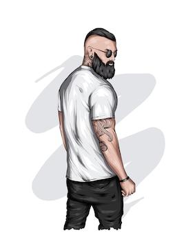 Przystojny facet w stylowej koszulce hipster