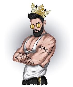 Przystojny facet w stylowych ubraniach i koronie