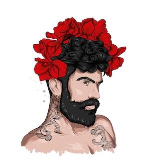 Przystojny facet w stylowych ubraniach i kwiatowym wianku