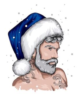 Przystojny facet w świąteczne ubrania i kapelusz świętego mikołaja nowy rok i moda