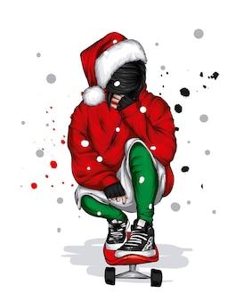 Przystojny facet w świątecznych ubraniach i kapeluszu świętego mikołaja w nowym roku