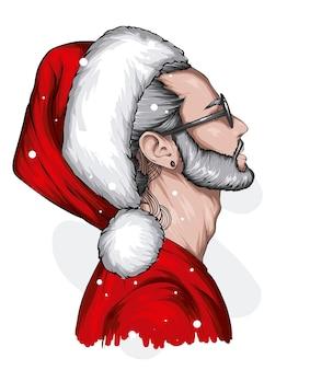 Przystojny facet w świątecznym kapeluszu i stylowych noworocznych ubraniach