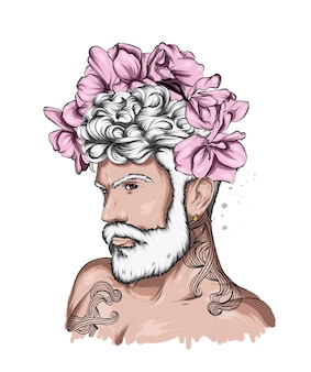 Przystojny facet w wieńcu kwiatów