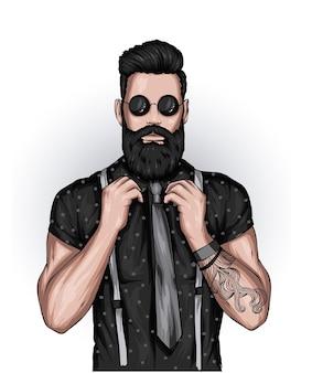 Przystojny facet z brodą stylową fryzurę i tatuażem