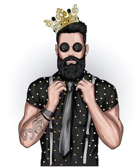 Przystojny facet ze stylową brodą i koroną