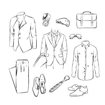 Przystojny garnitur człowieka biznesu. mundur biurowy. szkic ilustracji.