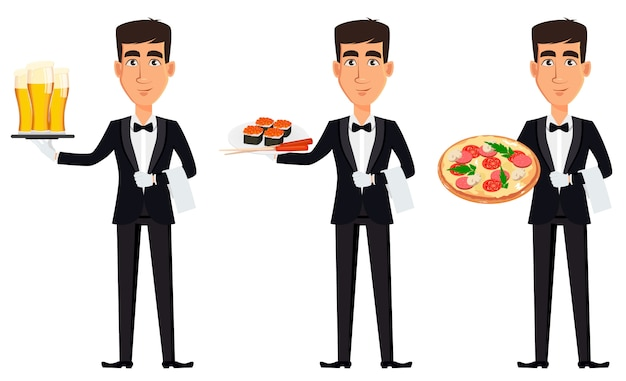 Przystojny kelner w profesjonalnym mundurze