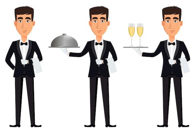 Przystojny kelner, zestaw trzech pozach