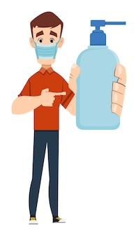 Przystojny mężczyzna nosi maskę i pokazuje butelkę żel z alkoholem. ilustracja koncepcja covid-19 lub koronawirusa