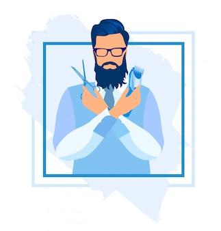 Przystojny mężczyzna trzyma nożyczki i maszynę do golenia