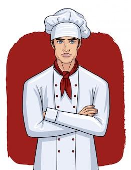 Przystojny mężczyzna w mundurze szefa kuchni