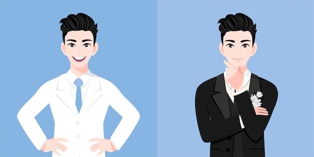 Przystojny pan młody w garniturze mężczyzny weselnego w dwóch stylach na dzień ślubu