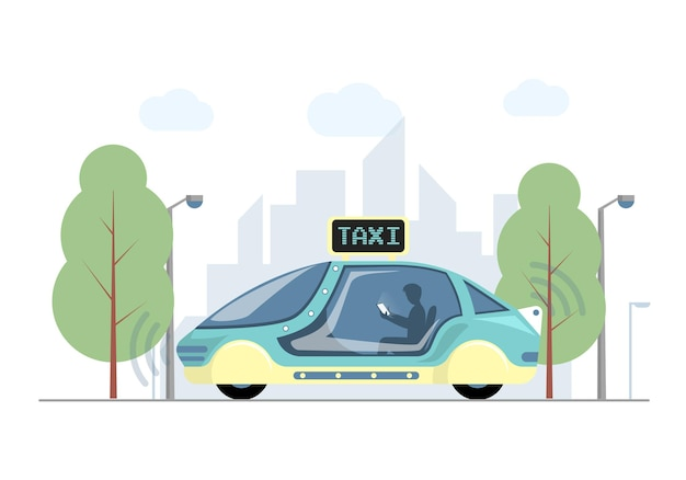Przyszła ekspresowa taksówka w mieście wektor płaska ilustracja futurystyczny wysoki
