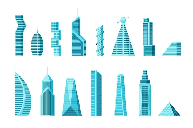 Przyszła kolekcja architektury miasta i wieżowca. futurystyczny miejski wielopiętrowy cyberpunk graficzny zestaw kamienicy. ilustracja wektorowa nowoczesne mieszkanie budowy nieruchomości