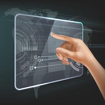 Przyszła technologia interfejsu użytkownika lub futurystyczna koncepcja holograficznego ekranu dotykowego