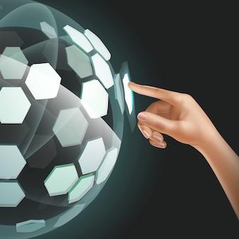 Przyszła technologia interfejsu użytkownika lub futurystyczny holograficzny ekran dotykowy