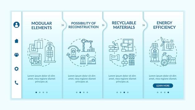 Przyszłe biuro budowlane onboarding szablon wektor. responsywna strona mobilna z ikonami. przewodnik po stronie internetowej 4 ekrany kroków. recykling, koncepcja kolorystyczna efektywności energetycznej z liniowymi ilustracjami