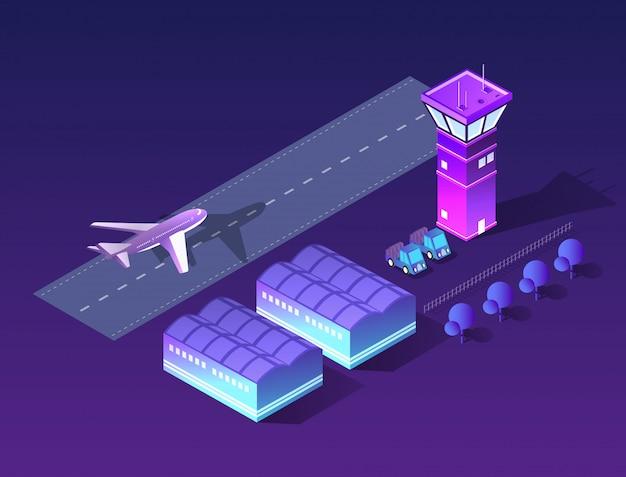 Przyszłe izometryczne lotnisko 3d