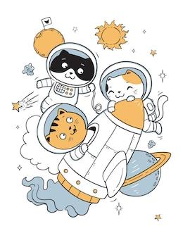Przyszłe Koty Astronauta Doodle Dla Dzieci Premium Wektorów