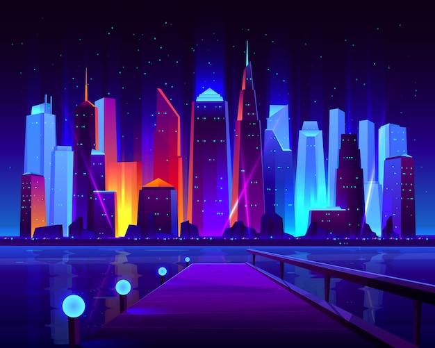 Przyszłe metropolie nad brzegiem morza z oświetlającymi neonowymi kolorami oświetlają futurystyczne wieżowce