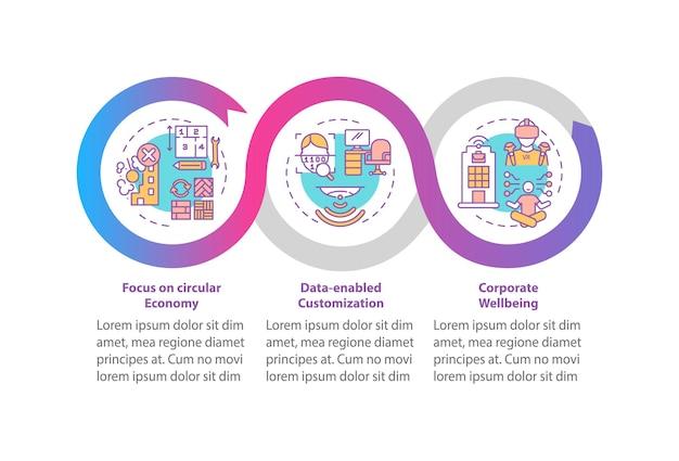 Przyszłe tendencje w projektowaniu biura wektor infografika szablon. skoncentruj się na elementach projektu prezentacji wellness. wizualizacja danych w 3 krokach. wykres osi czasu procesu. układ przepływu pracy z ikonami liniowymi