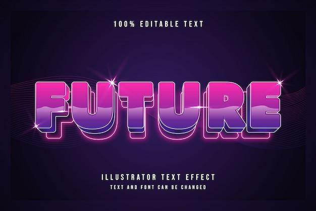 Przyszłość, edytowalna 3d stopniowa purpurowa gradacja różowy wzór tekstu efekt nowoczesnego cienia w stylu neon