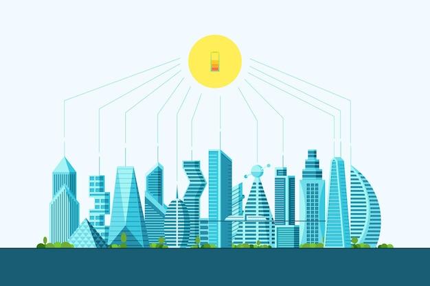 Przyszłość inteligentnego eko miasta alternatywna koncepcja czystej energii słonecznej. krajobraz miejski z poziomem naładowania baterii słonecznych. futurystyczna wielopiętrowa cyberpunk graficzna ekologia ilustracja wektorowa kamienicy