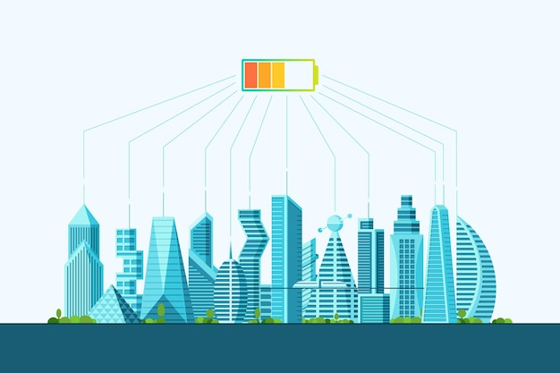 Przyszłość inteligentnego eko miasta alternatywna koncepcja czystej energii słonecznej. krajobraz miejski z poziomem naładowania baterii słonecznych. futurystyczny wielopiętrowy cyberpunk graficzny ekologia kamienicy wektor płaska ilustracja