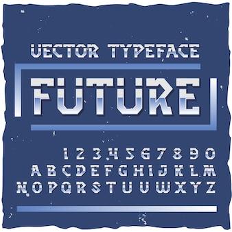 Przyszły alfabet z cyframi kolorowe litery na białym tle w stylu retro