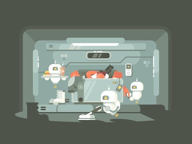 Przyszły czas, roboty pracują, osoba leżąca na łóżku. ilustracja wektorowa