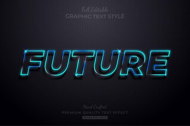 Przyszły styl czcionki edytowalny efekt tekstowy neon blue glow