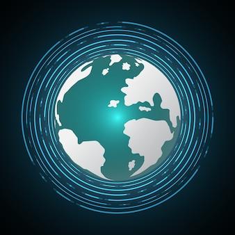 Przyszły świat glob koło tło