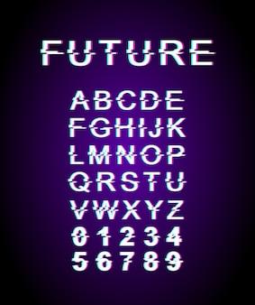 Przyszły szablon czcionki usterki. alfabet w stylu retro futurystyczny zestaw na fioletowym tle. wielkie litery, cyfry i symbole. współczesny krój pisma z efektem zniekształcenia