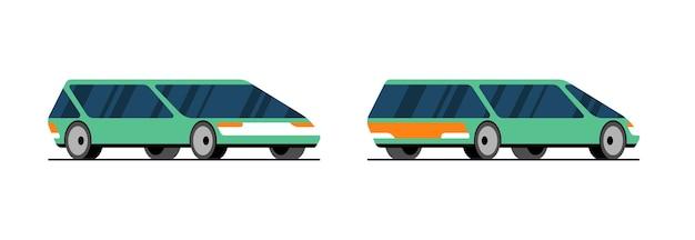 Przyszły zielony samochód elektryczny z boku z tyłu widok z przodu koncepcja projektowa. futurystyczny, autonomiczny, samojezdny, inteligentny samochód. ilustracja wektorowa pojazdu bez kierowcy