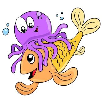 Przytulanie kałamarnic i ryb. ilustracja kreskówka śliczna naklejka