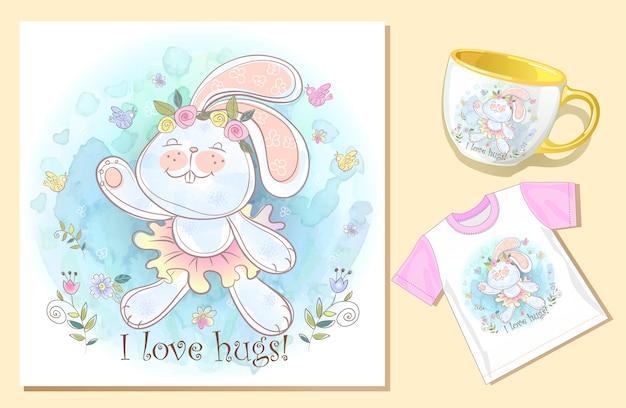 Przytulanie króliczka. zabawna e-karta. nadruk na kubku i koszulce.