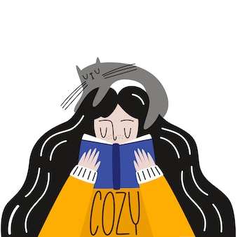 Przytulna atmosfera. wektorowa ilustracja: dziewczyna w bluzie z kotem czyta książkę. płaski styl