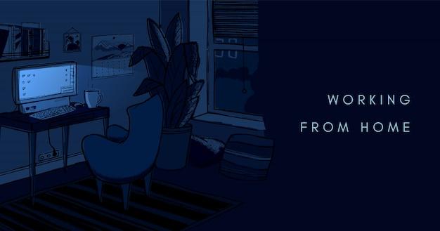 Przytulna ciemna noc ministerstwa spraw wewnętrznych ilustracja. śliczne wnętrze do pracy w domu.