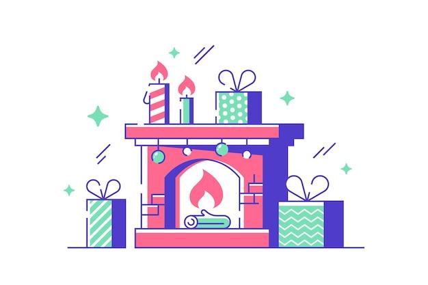Przytulna ilustracja kominek nowego roku. wygodne miejsce w domu z obecnymi pudełkami w stylu płaskim. świece i prezenty. koncepcja świąt bożego narodzenia i ferii zimowych. odosobniony