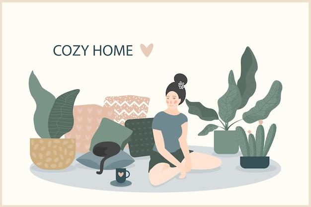 Przytulna ilustracja ręcznie robiona z motywem domowym. proste wnętrze pokoju do wykorzystania w projektowaniu domowych nadruków dekoracyjnych, wystroju kwiaciarni, tapety, nadruku na torbie lub koszulce, pracowni artystycznej itp.
